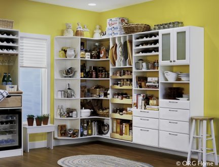 yellow room with pantry storage